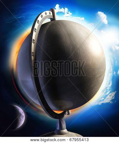 Metal Desktop Globe With Sun And Moon