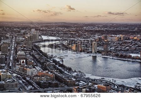 Boston aerial view at sunset