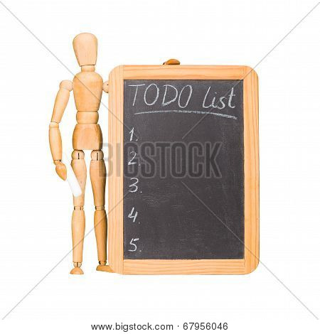 Wooden dummy with chalkboard todo list