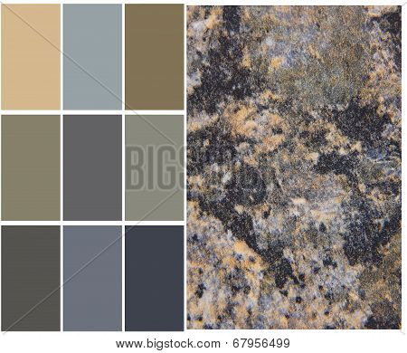 granite color palette swatches with complimentary