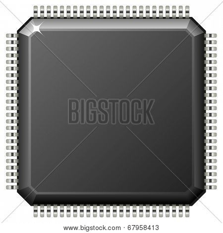 Microchip isolated on white background.