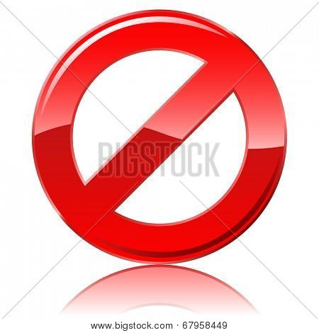Blank restrictive sign isolated on white background.