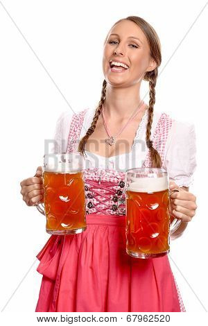 Laughing Young Woman In A Dirndl Serving Beer
