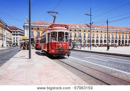 Lisbon,Portugal-May 11: Typical,Tramway on May 11, 2014. Beautiful Tramway in  Lisbon, Portugal, Europe