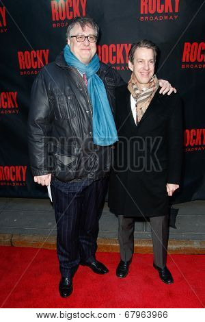 NEW YORK-MAR 13: Playwright Douglas Carter Beane (L) and composer Lewis Flinn attend the 'Rocky' Broadway opening night at the Winter Garden Theatre on March 13, 2014 in New York City.