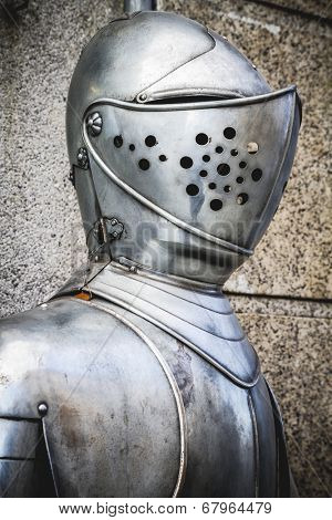 Spanish military armor, helmet and breastplate detail