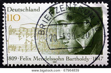 Postage Stamp Germany 1997 Felix Mendelssohn Bartholdy, Composer