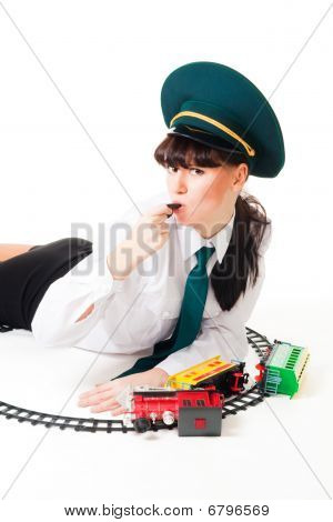 Railway Worker And Crashed Toy Train