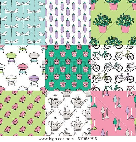 Seamless summer garden birds bike and barbecue doodle illustration collection set background pattern in vector