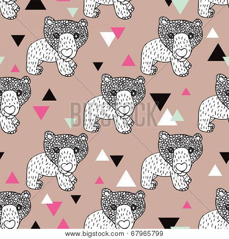 Seamless geometric woodland animal doodle sketch illustration grizzly bear background pattern in vector