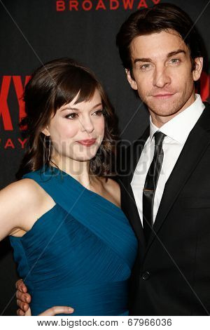 NEW YORK-MAR 13: Actors Margo Seibert (L) and Andy Karl attend the 'Rocky' Broadway opening night after party at Roseland Ballroom on March 13, 2014 in New York City.
