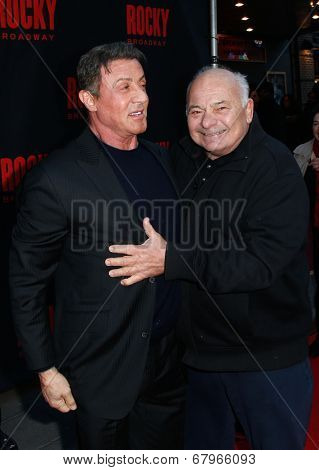 NEW YORK-MAR 13: Actors Sylvester Stallone (L) and Burt Young attend the 'Rocky' Broadway opening night at the Winter Garden Theatre on March 13, 2014 in New York City.