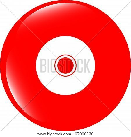Cd Or Dvd Sign Icon. Compact Disc Symbol. Modern Ui Website Button