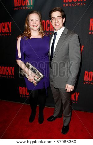 NEW YORK-MAR 13: Actors Brielle Borger and Adrian Aguilar (R) attend the 'Rocky' Broadway opening night after party at Roseland Ballroom on March 13, 2014 in New York City.