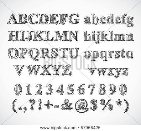 Sketch alphabet font