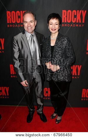 NEW YORK-MAR 13: Composer Stephen Flaherty (L) and lyricist Lynn Ahrens attend the 'Rocky' Broadway opening night after party at Roseland Ballroom on March 13, 2014 in New York City.
