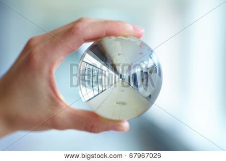 glass ball in the hand