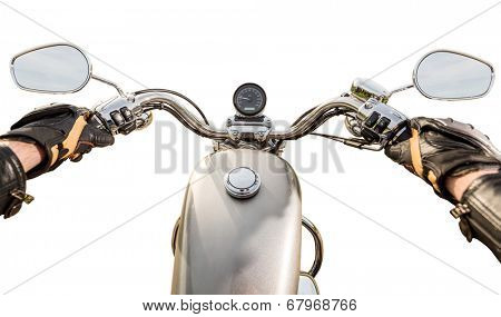Biker driving a motorcycle isolated on white background. First-person view.