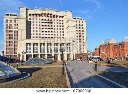 MOSCOW, RUSSIA - MARCH 10, 2014: View to the reconstructed hotel