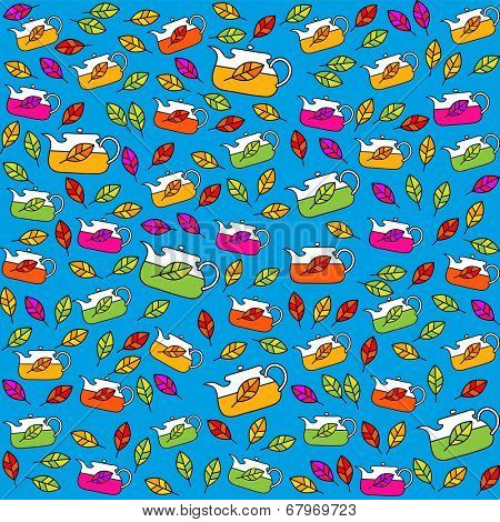 Tea Collection. Kettles with tea leaf. Seamless pattern. Vector.