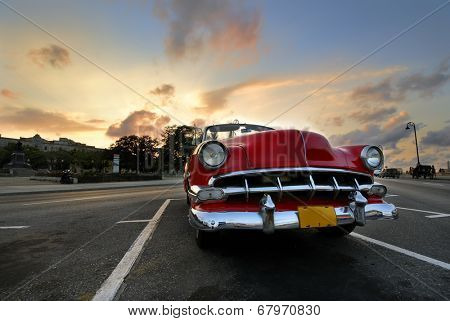 HAVANA, CUBA - NOV 3, 2009: Vintage classic american car parked in a street. Most of this old vehicles are used as private taxi.