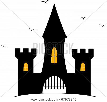 Cartoon castle illustration with crows flying around