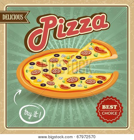 Pizza retro poster