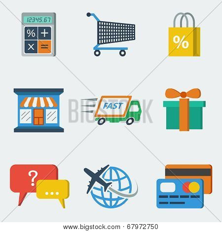 Shopping E-commerce Icons Flat
