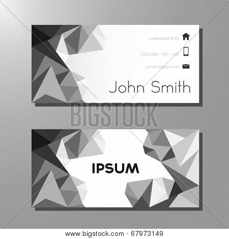 Business card polygon style template - black and white