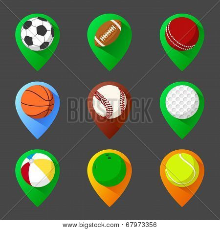 Mapping geo tag pin icon set with balls