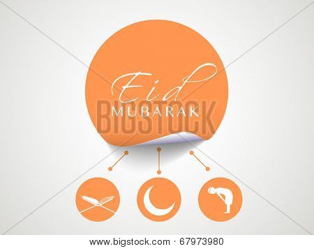 Stylish orange sticky with Islamic religious book Quran Shareef, mosque and young muslim man praying on grey background for muslim community festival Eid Mubarak celebrations.