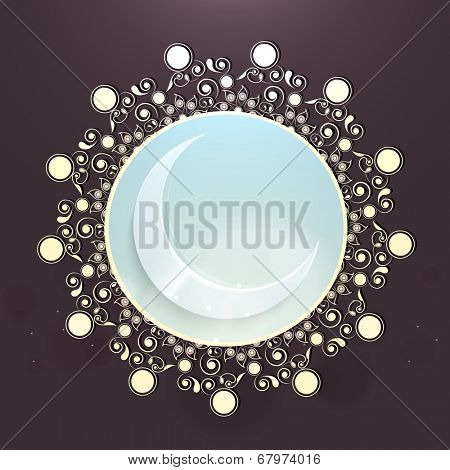 Blue crescent moon on floral decorated background for Muslim community festival Eid Mubarak celebrations.