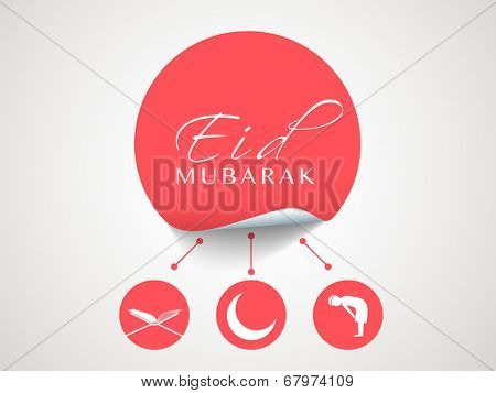 Stylish red sticky with Islamic religious book Quran Shareef, mosque and young muslim man praying on grey background for muslim community festival Eid Mubarak celebrations.