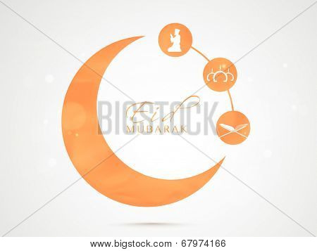 Stylish orange sticky in crescent moon shape with Islamic religious book Quran Shareef, mosque and young muslim man praying on grey background for muslim community festival Eid Mubarak celebrations.