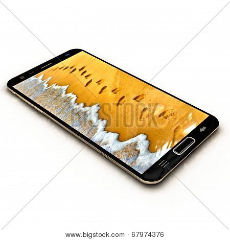 phone with sea wave and footprints on sand beach