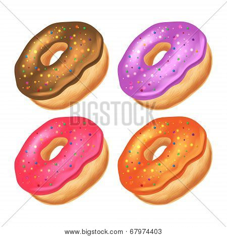 Donuts with icing on a white background.