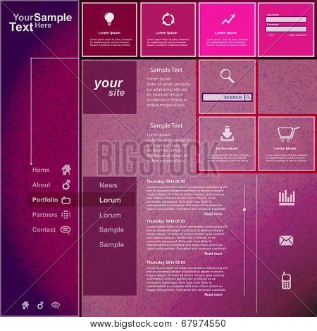 Website template purple pink design