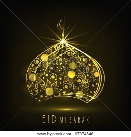 Shiny golden mosque on grey background for Muslim community festival Eid Mubarak celebrations.