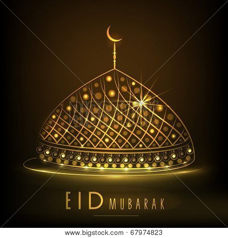 Shiny golden mosque on brown background for Muslim community festival Eid Mubarak celebrations.