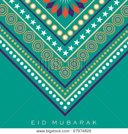 Stylish floral decorated abstract background, beautiful greeting card design for Muslim community festival Eid Mubarak celebrations.