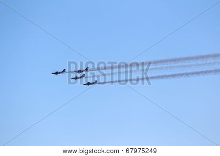 Aircraft Of The Pioneer Team Taking Part In An Exhibition For Kavala Airshow 2014, In Kavala, Greece