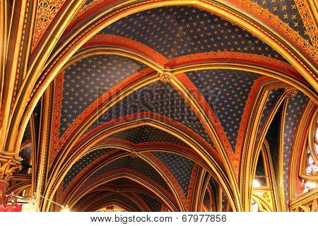 PARIS, FRANCE - NOV 06, 2012: Ceiling construction, Interiors and architectural details of the Sainte Chapelle, built in 1239, in Ile de la Cite, Nov 06, 2012 in Paris, France.