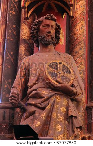 PARIS, FRANCE - NOV 06, 2012: Statue of the Apostle, Interiors and architectural details of the Sainte Chapelle, built in 1239, in Ile de la Cite, Nov 06, 2012 in Paris, France.