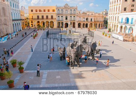HAVANA, CUBA - MARCH 27, 2009: View of art installation during 10th havana art biennial in Old Havana Plaza
