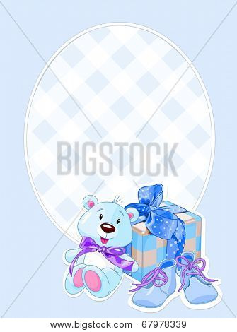 Illustration of arrival card for cutest newborn baby boy