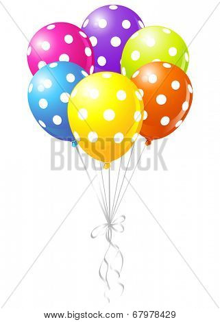 Realistic illustration of dotted shiny colorful balloons