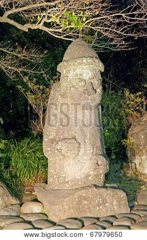 stone statue of Harubang is national  landmark symbol of Jeju Island in South Korea