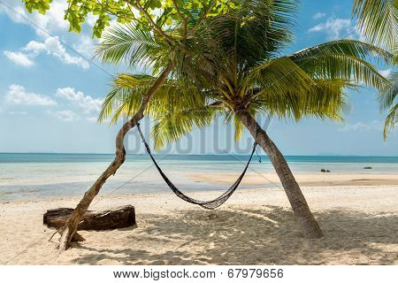 Hammock and palms on the beach resort at Koh Samui Island Thailand