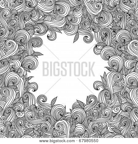 Abstract hand-drawn curly wave pattern.