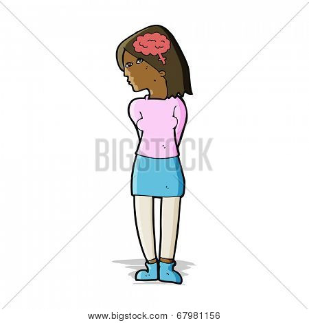 cartoon brainy woman